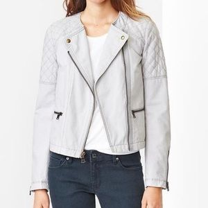 NWT GAP Quilted Moto Grey Crystal Jacket
